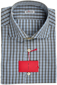 Kiton Luxury Dress Shirt Cotton 17 1/2 44 Blue Gray Check 01SH0559