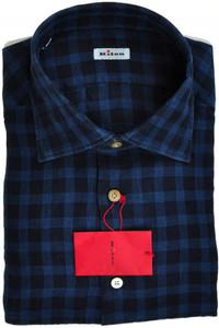 Kiton Luxury Dress Shirt Linen 17 1/2 44 Blue Check 01SH0558