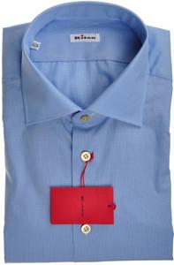 Kiton Luxury Dress Shirt Cotton 17 1/2 44 Blue White Check 01SH0557