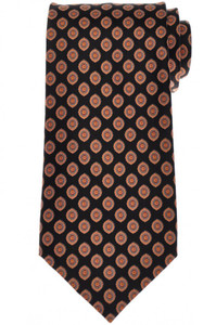 Stefano Ricci Tie Silk 61 x 3 5/8 Black Orange Geometric 13TI0596