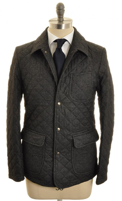Isaia Napoli Quilted Jacket Coat Wool 52 Large Gray Solid ...