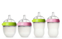 Comotomo Natural Feel Baby Bottle,  5oz/8oz, Green/Pink