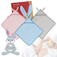 Snapkis Newborn Bamboo Bunny Hooded Towel, 3 Colours (buy 1 get 1 FREE)