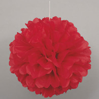 "PUFF BALL DECOR RED 40cm (16"")"