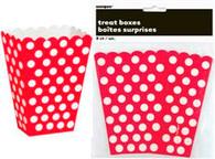 "DOTS RED 8 TREAT BOXES 14cm H x 9.5cm W (5.5""x3.75"")"