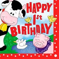 FARM FRIENDS 16 LUNCHEON NAPKINS - HAPPY 1st BIRTHDAY