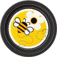 "BUSY BEES 8 x 18cm (7"") PAPER PLATES"
