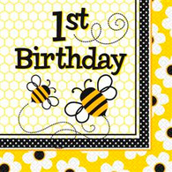 BUSY BEES 16 LUNCHEON NAPKINS - 1st BIRTHDAY