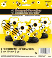 BUSY BEES 4 MINI HONEYCOMB DECORATIONS 15cm