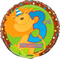 "JUNGLE PARTY 3rd BIRTHDAY 45cm (18"") FOIL BALLOOON PACKAGED"