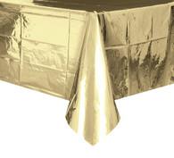 "METALLIC GOLD PLASTIC TABLECOVER RECTANGLE 137cm X 274cm (54"" X 108"")"