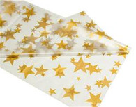 "CLEAR GOLD STARS METEOR PLASTIC TABLECOVER RECTANGLE 137cm X 274cm (54"" X 108"")"