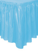 "POWDER BLUE PLASTIC TABLESKIRT 73cm X 4.3m (29""X14')"