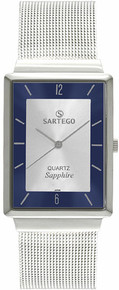Sartego Unisex Mid-Size Ultra Thin Stainless Steel Dress Silver Dial Mesh Band SVS335