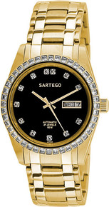 Sartego Men's Gold Tone Automatic Dress Black Dial SGBK04