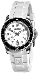 Swiss Army Ladies Maverick Stainless Steel Case and Bracelet White Dial Date Display  241491