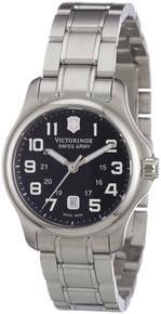 Swiss Army Ladies Victorinox Officer Stainless Steel Case and Bracelet Black Dial  241456