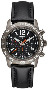 Traser H3 Men's Titanium Case Classic Titan Black Dial Chronograph Leather Strap  T40067730701