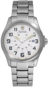 Swiss Army Men's Infantry Vintage Stainless Steel Case and Bracelet White Tone Dial Date Display  241293