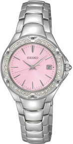 Seiko Ladies Stainless Steel Quartz Pink Dial Crystal SXDC53