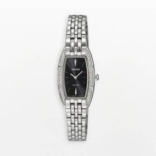 Seiko Ladies Stainless Steel Case Solar Quartz Black Dial Swarovski Crystals SUP149