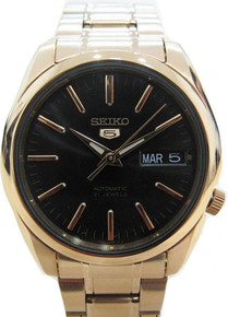Seiko Men's Gold Tone Stainless Steel Case and Bracelet Automatic Black Tone Dial  SNKL50