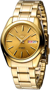 Seiko Men's Gold Tone Stainless Steel Case and Bracelet Automatic Gold Tone Dial  SNKL48