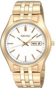 Seiko Men's Stainless Steel Gold Tone Dress  White Dial SGGA20