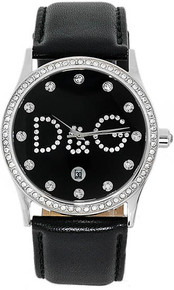 Dolce and Gabbana Ladies Stainless Steel Gloria Black Dial Strap Crystal DW0008