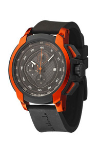 Ritmo Mundo Quantum I Stainless Steel and Orange Aluminum Watch, 50mm