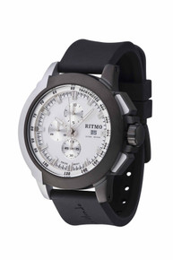 Ritmo Mundo Quantum II Collection Stainless Steel and Black and White Aluminum Watch, 43mm