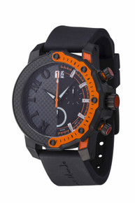 Ritmo Mundo Quantum III Collection Stainless Steel and Orange Aluminum Watch, 50mm