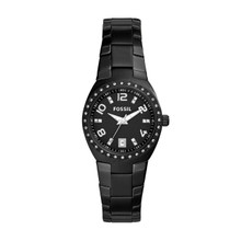 Fossil Ladies Colleague Three-Hand Date Stainless Steel Watch - Black ES3655