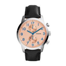 Fossil Men's Townsman Chronograph Leather Watch - Black FS4986