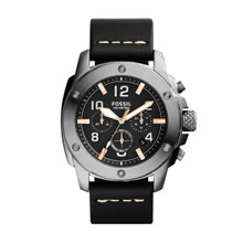 Fossil Men's Modern Machine Chronograph Leather Watch - Black  FS5016