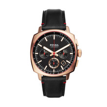 Fossil Men's Fossil Haywood Chronograph Black Leather Watch CH3008