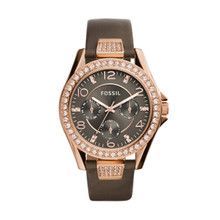 Fossil Ladies Riley Multifunction Leather Watch Gray ES3888 Gray