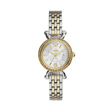 Fossil Ladies Georgia Cordell Three-Hand Stainless Steel Watch Two-Tone ES3895 Silver