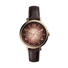 Fossil Ladies Jacqueline Multifunction Leather Watch Dark Brown ES3898 Brown