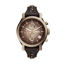 Fossil Ladies Original Boyfriend Chronograph Leather Watch Dark Brown ES3907 Brown
