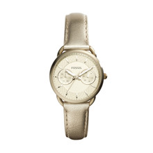 Fossil Ladies Tailor Multifunction Leather Watch Champagne ES3912 Gold