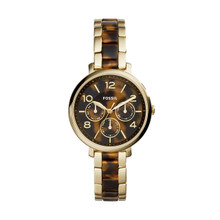 Fossil Ladies Jacqueline Gold-Tone Stainless Steel & Tortoise Acetate Bracelet Watch 36mm ES3925