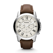 Fossil Men's Grant Chronograph Leather Watch - Brown FS4735 Beige