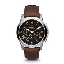 Fossil Men's Grant Chronograph Leather Watch - Brown FS4813 Black