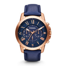Fossil Men's Grant Chronograph Leather Watch - Blue FS4835 Blue