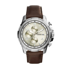 Fossil Men's Dean Chronograph Leather Watch Dark Brown FS5114 Beige