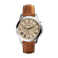 Fossil Men's Grant Chronograph Leather Watch Light Brown FS5118 Beige