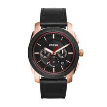 Fossil Men's Machine Chronograph Leather Watch Black FS5120 Black