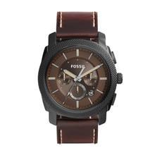 Fossil Men's Machine Chronograph Leather Watch Dark Brown FS5121 Brown