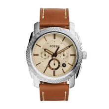Fossil Men's Machine Watch In Silvertone With Light Brown Leather Strap FS5131